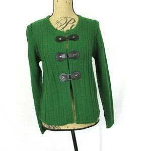 Tahari Green Buckle Cardigan Merino Wool Blend EUC
